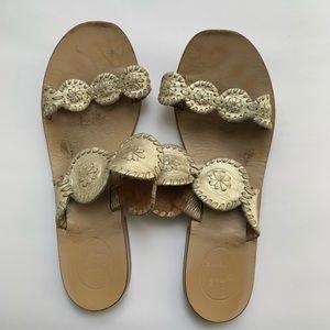 Jack Rogers Lauren gold metallic sandal 10